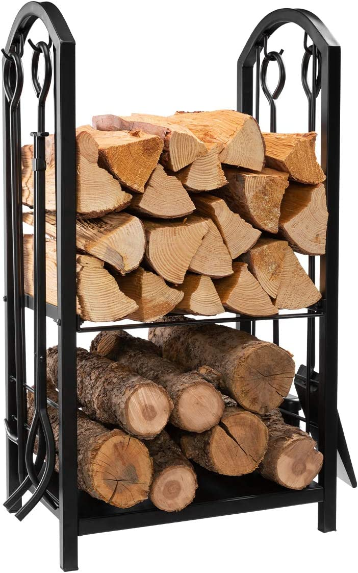 "B0799GGMTN DOEWORKS All-in-One Heavy Duty Hearth Firewood Rack with Fireplace Tools Set, 18"" Wide x 27.5"" Tall Log Holder, Black 71xAmsdDSLL"