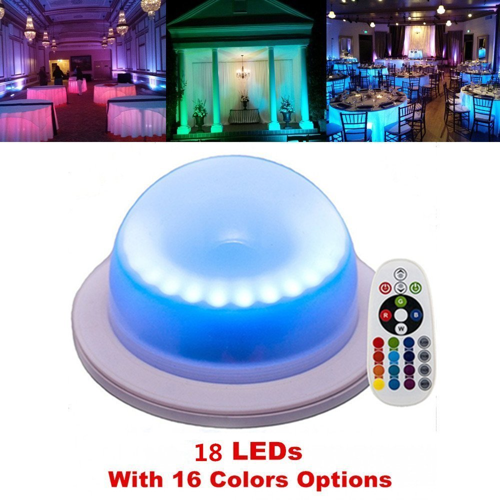 ARDUX 18 LEDs Rechargable Waterproof Decoration LED Base Lights with Remote Control 16 Colors Color-Changing for Under Table Party Event Birthday Outdoor Indoor (1Pc)