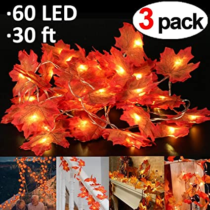 thanksgiving decorations maple leaves garland string light30 ft 60 led lights fall garland light