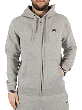 cde7d17d00da Mens Fila Vintage Heather Grey Tenconi Zip Marled Logo Hoodie - S:  Amazon.co.uk: Clothing