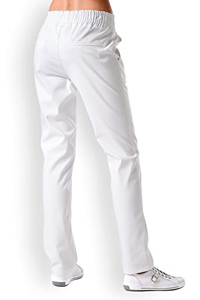 CLINIC DRESS Schlupfhose Weiß Damen Rundumgummibund weiß  Amazon.de   Bekleidung 6ff84338d0