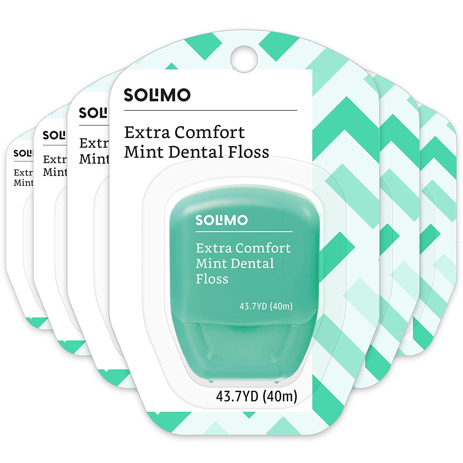 Amazon Brand - Solimo Extra Comfort Mint Dental Floss, 40 M (Pack of 6) Amazon.com Services Inc.