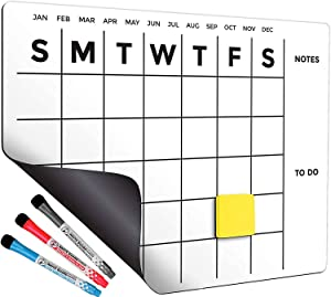 CANORE Magnetic Dry Erase Fridge Calendar 13 х 16.9 in, Monthly Planner for Refrigerator with 3 Markers with Magnet Cap
