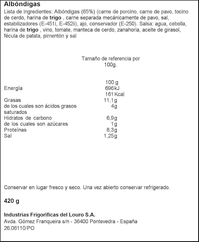 Louriño - Albóndigas 420 g - , Pack de 6: Amazon.es: Alimentación y bebidas