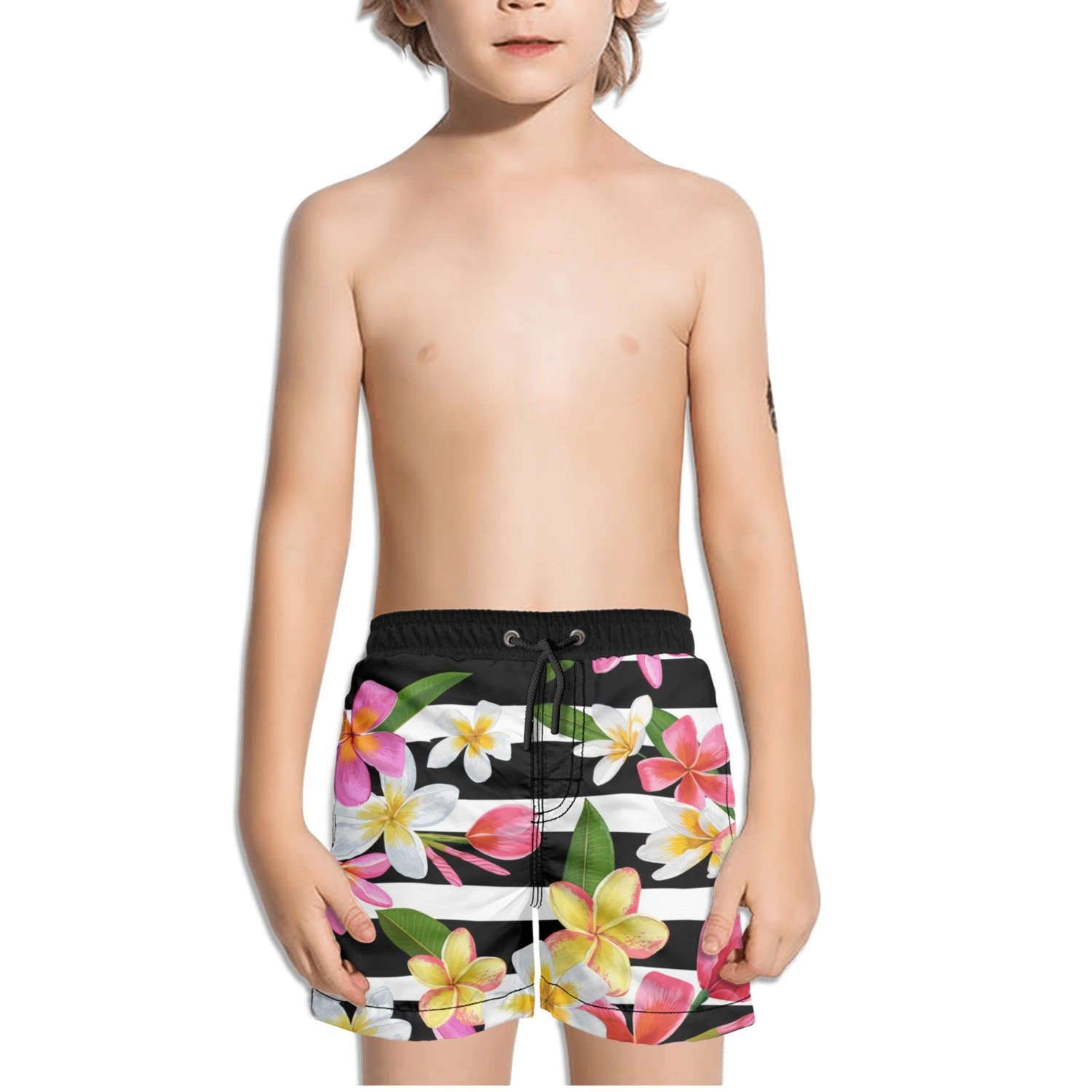 Ouxioaz Boys Swim Trunk Tropical Flower Palm Leaves Beach Board Shorts