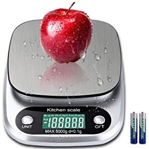 Digital Kitchen Scale 5000g/ 0.1g Tare Function g/oz/ml/ct/kg/tl/fl:oz/lb:oz/lb Stainless Steel Platform With Backlit LCD Display Food Scale Gram Ounce High Precision Cooking Baking Scale