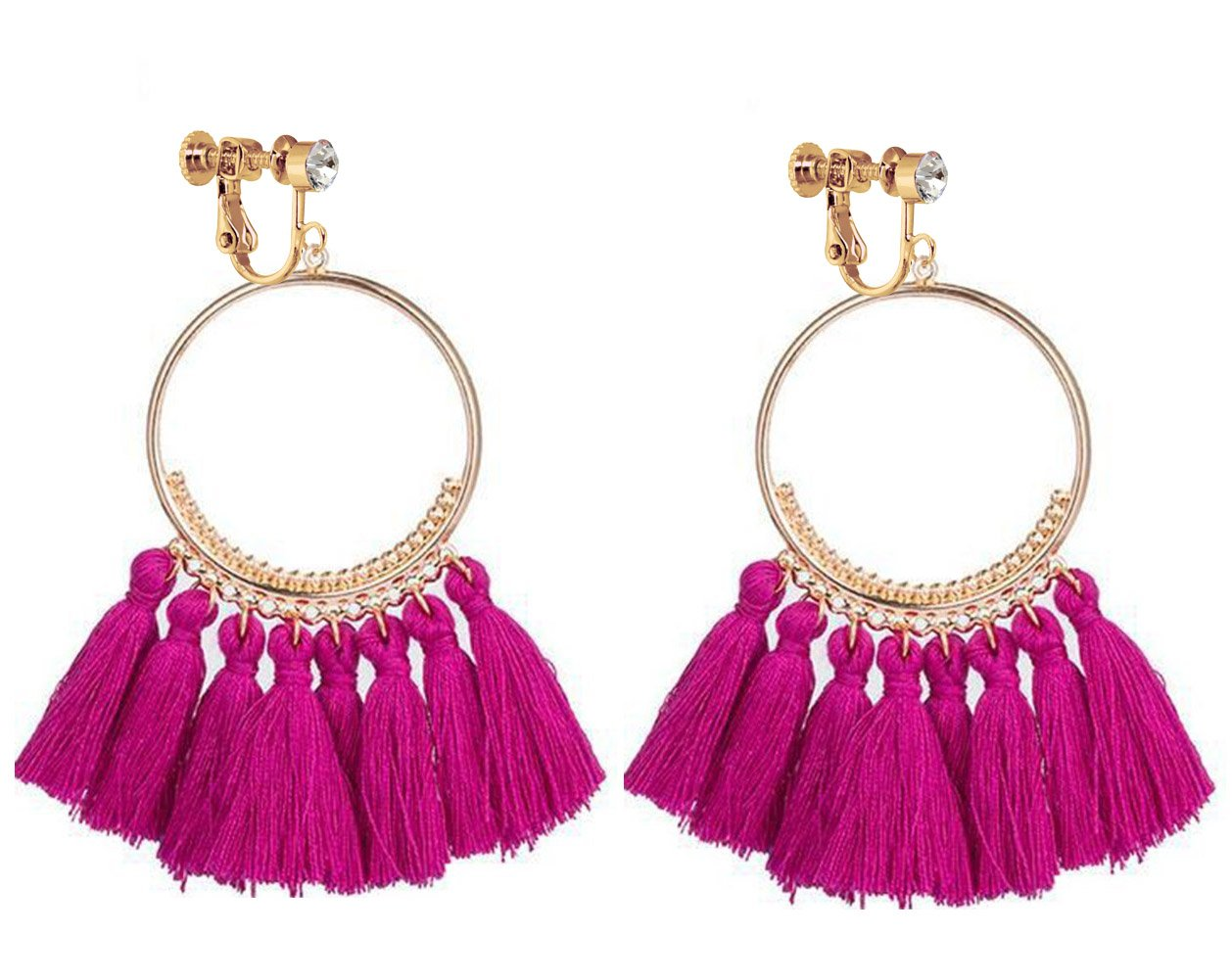 Bohemia Long Dangle Rhinestone Clip on Earrings Tassel Thread for Women Circle Drop Gold Hoop Pink Red