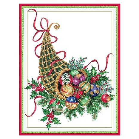 Caspari Christmas Cards.Amazon Com Caspari Christmas Cornucopia Boxed Christmas