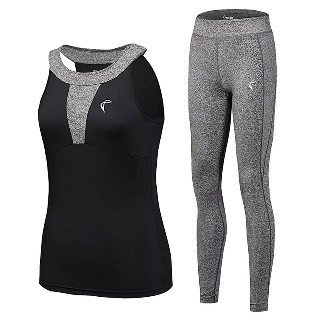 Shelcup Tracksuit For Women Yoga Workout Fitness Running Athletic Sports Gym Tank Top Pant 2 Piece Set, Black Top and Grey Pant, Medium