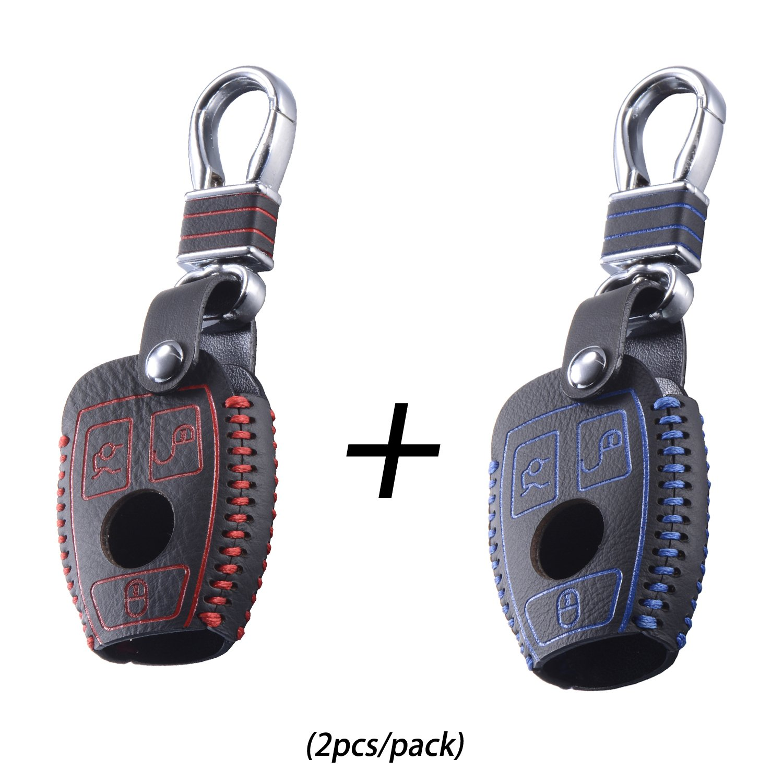 DKMUS Leather Key Cover W203 W204 W210 W211 AMG Class A B C E S ML GL CLA CLK C180 E200 Remote FOB Case Keychain Luxury Khaki