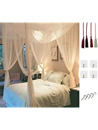 MOSQUITO NET For Double Bed By Comtelek, Four Corner Post Elegant Mosquito  Net Bed Canopy