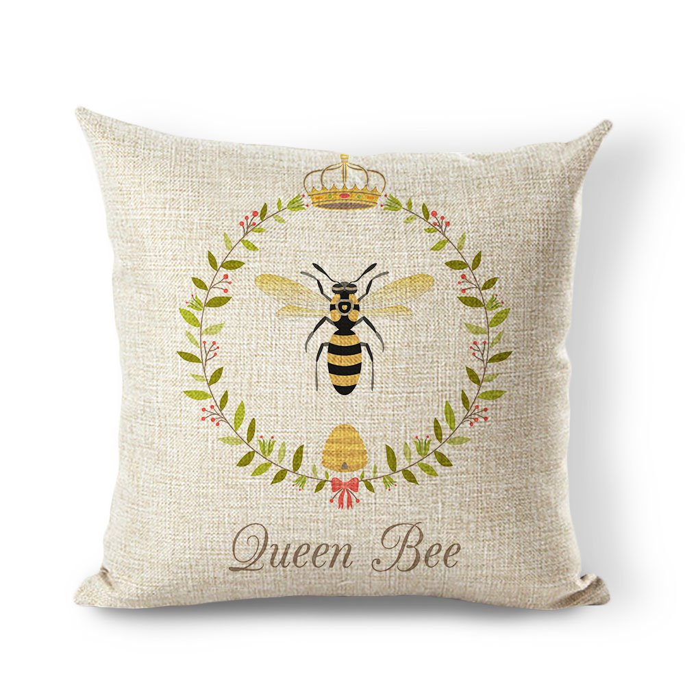 Yilooom Pillow Cover Vintage French Queen BeeBrown Cotton Linen Decorative Throw Pillow Case Cushion Cover 18 X18 Inches