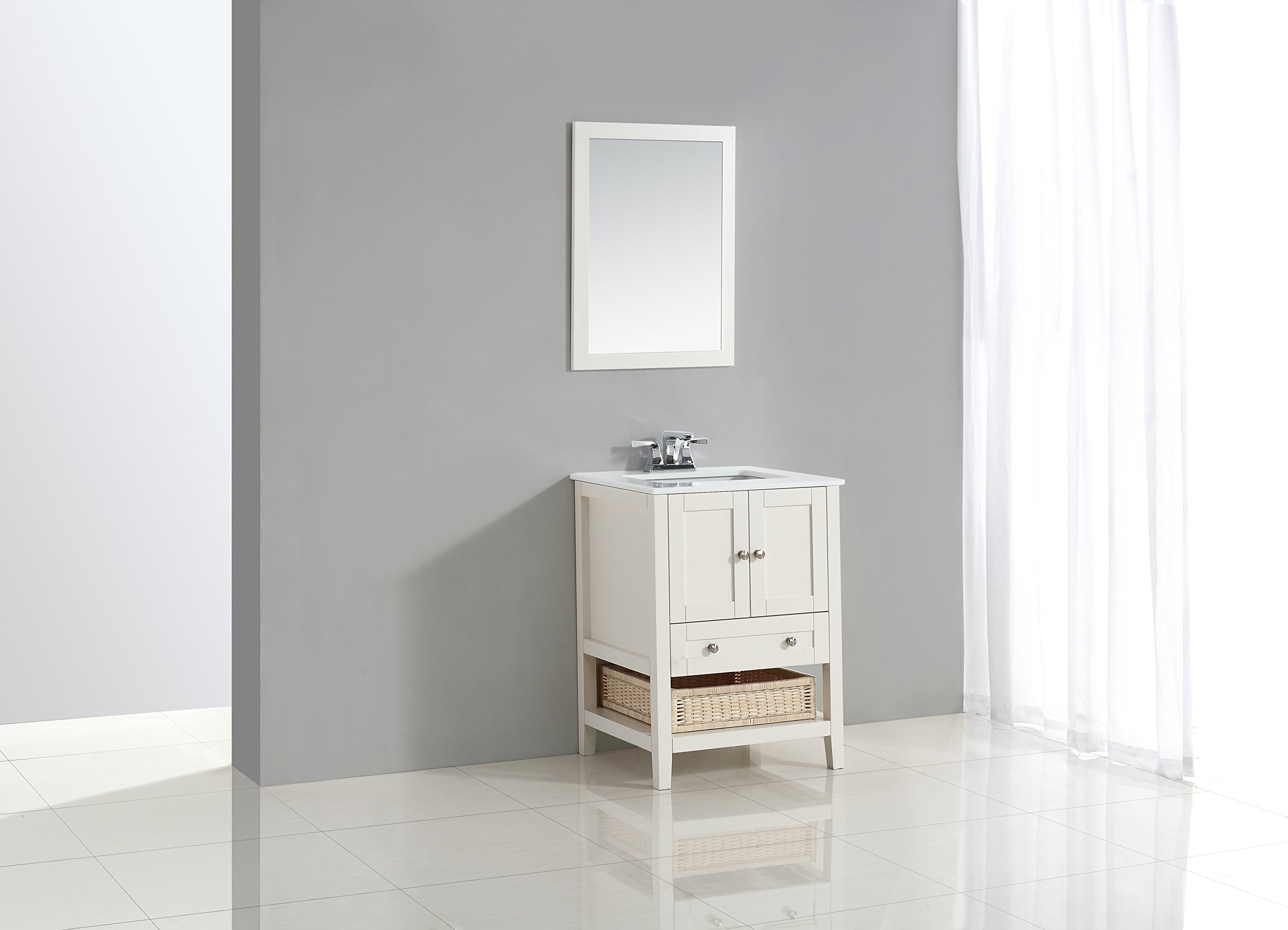 "Simpli Home 4AXCVCCW-24 Cape Cod 24 inch Contemporary Bath Vanity in Soft White with White Engineered Quartz Marble Top - Single sink bathroom vanity with two doors, one bottom drawer and open storage area with basket, hardwood frame and legs Vanity color: Off White with Brushed Nickel knobs Overall Vanity Size with Top: 25"" w x 21.5"" d x 34.5"" h - bathroom-vanities, bathroom-fixtures-hardware, bathroom - 71xAsdF1HDL -"