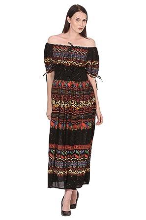 4221b31368c Saadgi Women's Viscose Rayon Rajasthani Printed Multicolored Stretchable  Smoky Elastic Long Maxi Dress