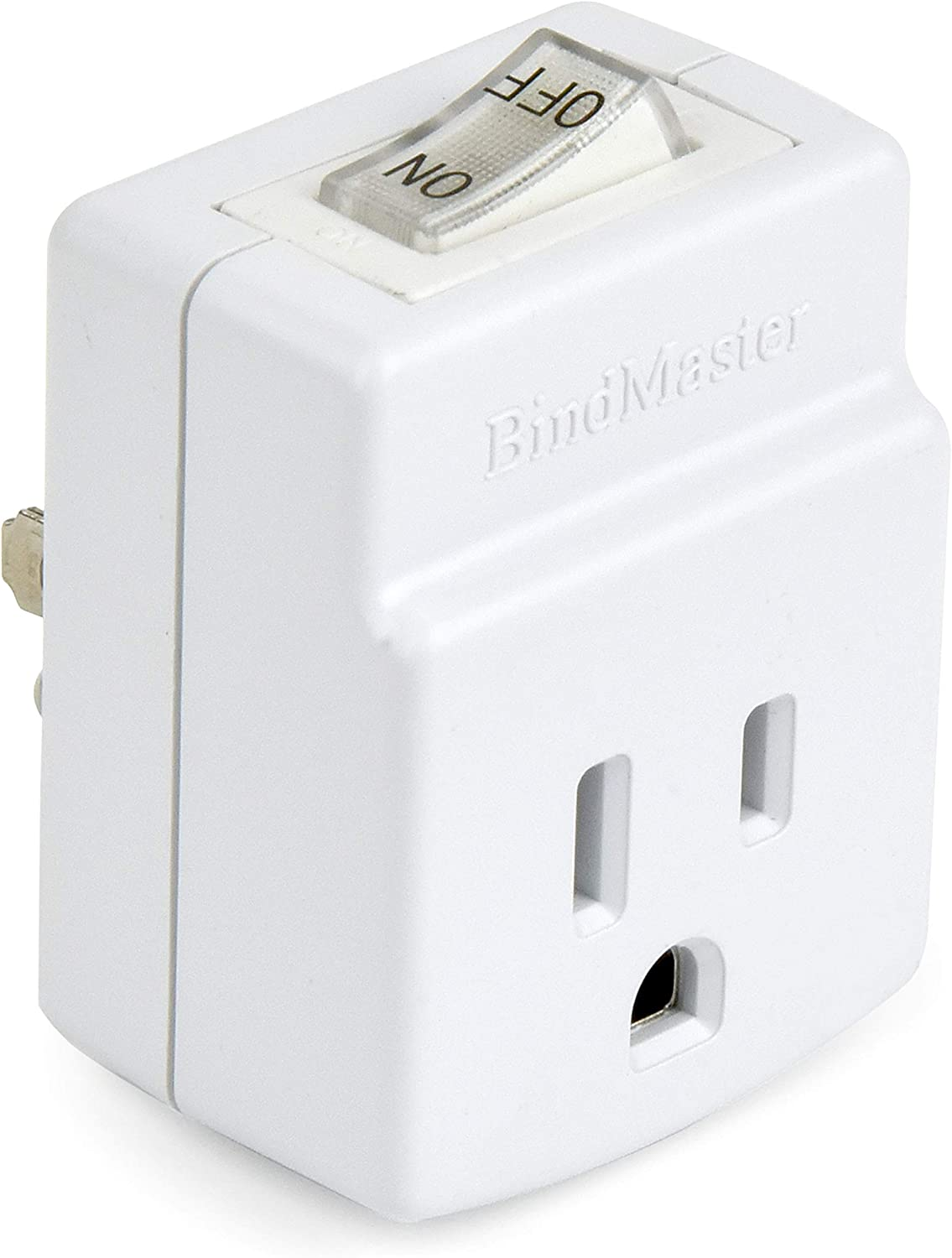 BindMaster 3 Prong Grounded Single Port Power Adapter with Indicator On/Off Switch (1 Pack)