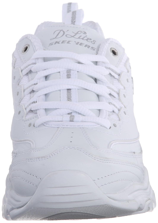 Skechers Damen D'Lites Sneakers Biggest Fan Plateau Chunky Sneakers D'Lites Zum Schnüren mit Integriertem 3cm Hohen Absatz Weiß/Silberfarben 0fa169
