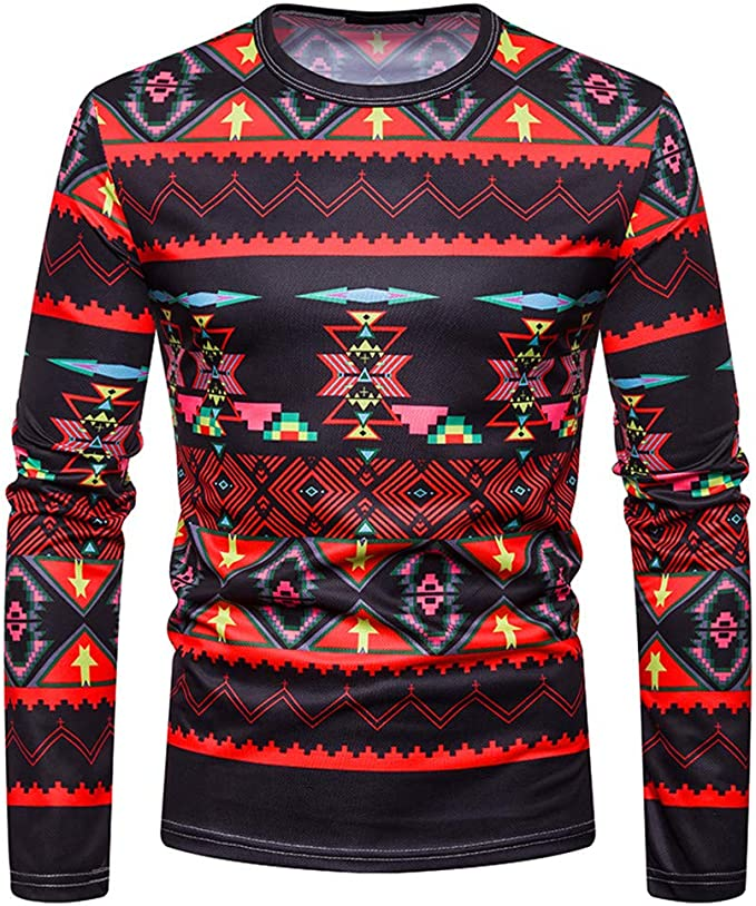 SportsX Mens Crew Neck Pullover Long Sleeve Checkered Sweater