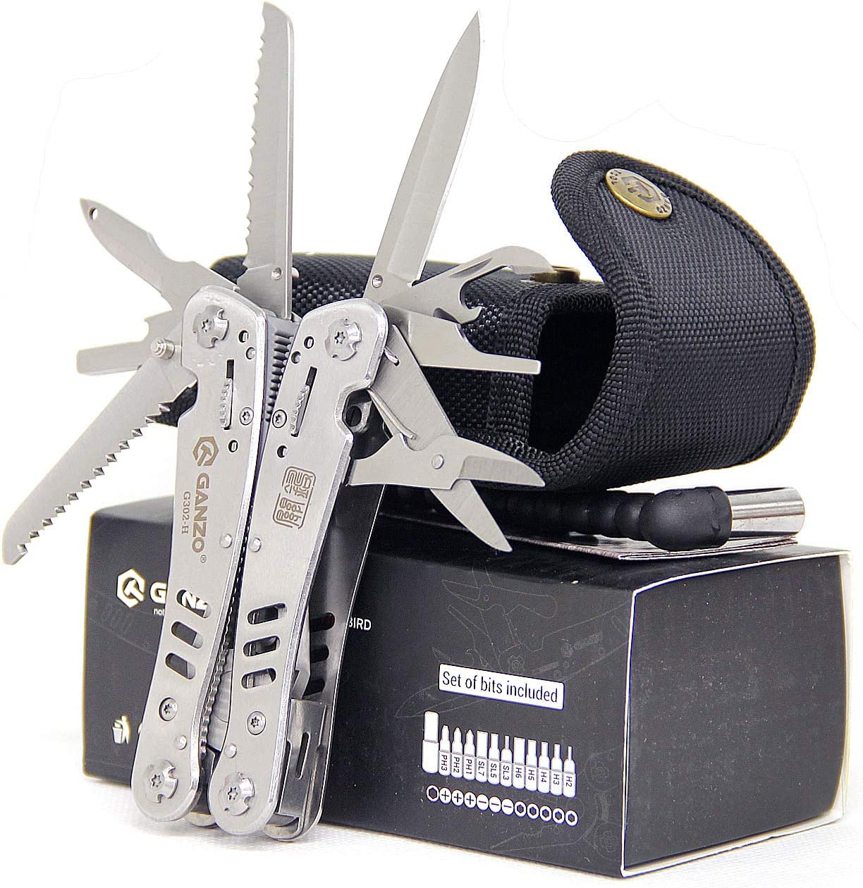 Silver GANZO G202 Multi Pliers Multitool Screwdriver Toolkit Stainless Steel New