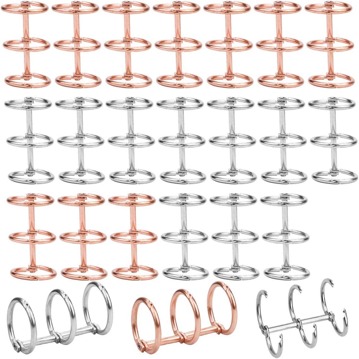 Pack de 20 ganchos para agenda, 3 anillos (Plateado, rose G)