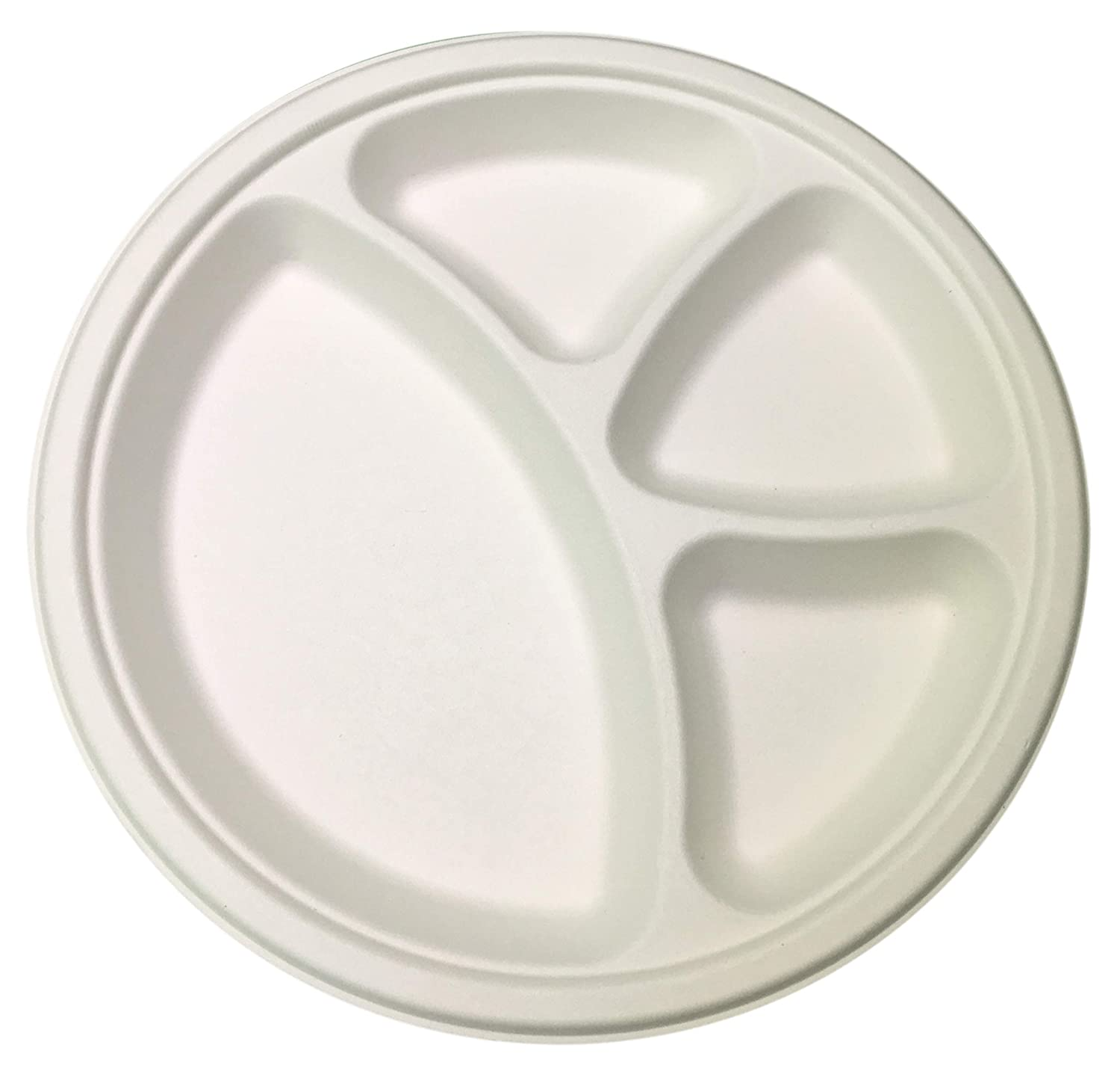 STRONG /& LEAF PROOF 4 Compartment Biodegradable Sugarcane White Paper Plates