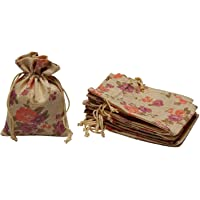 LifeKrafts Linen Pouches,Birthday & Party Favour Gift Bag,Gifts Bags for Return Gifts Bags,Size-4 * 4 inches(10x10 cms) Purple Floral Pack of 10.