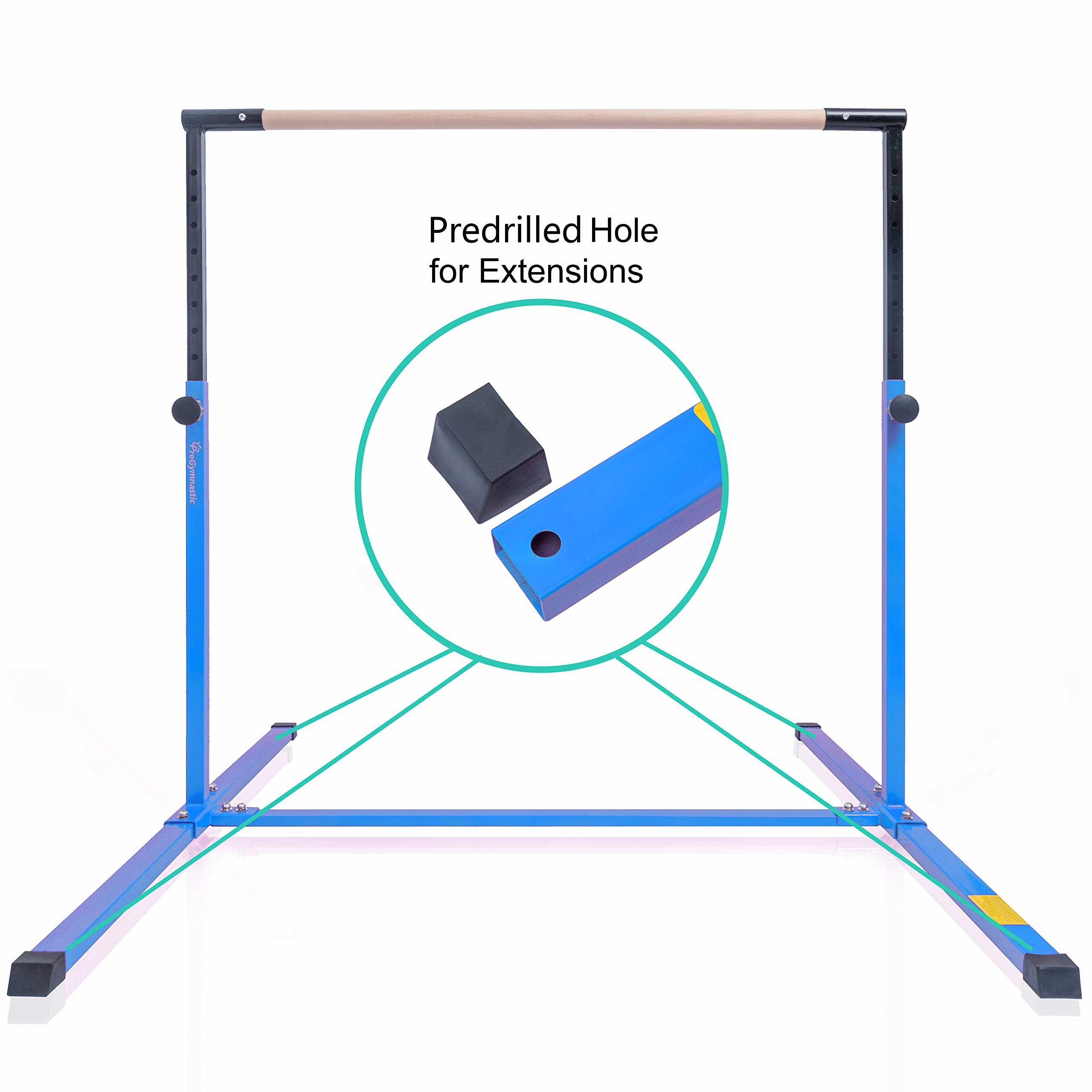 PreGymnastic Expandable & Adjustable(3'-5') Kip Bar with Predrilled Hole for Extensions/Junior Training Bar/Horizontal Training Bar with Bonus Shinning Sticker Inside (Light Blue)