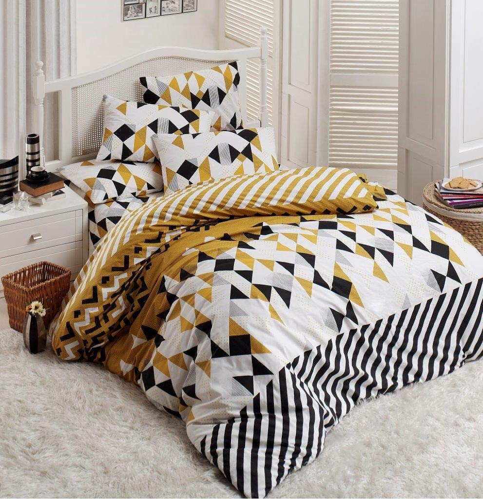 OliLinges Duvet Cover Yellow Black and White Queen Size DTS