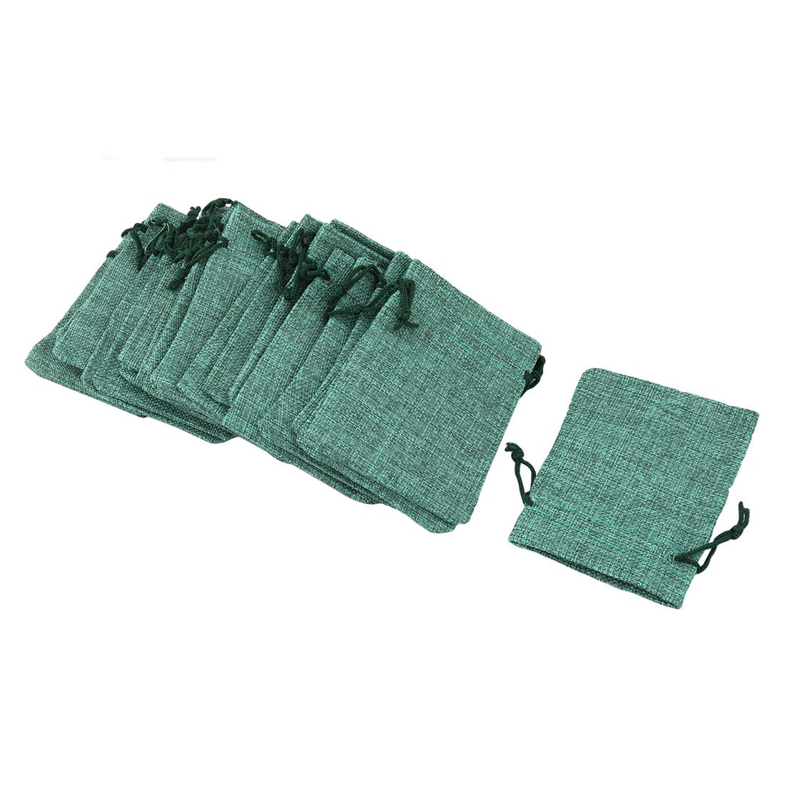 uxcell Cotton Linen Outdoor Jewelry Ring Button Holder Drawstring Bag 25pcs Dark Green