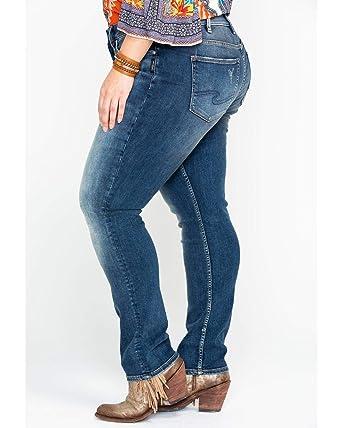 a8722df4ed9 Silver Jeans Co. Women s Plus Size Avery Curvy Fit High Rise Slim Leg Jeans