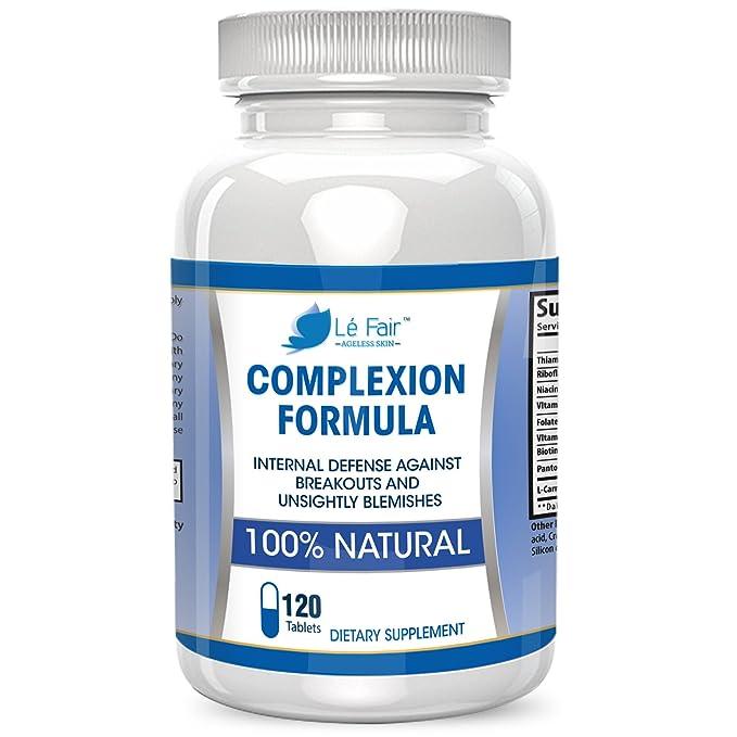 Pastillas para el acné con ácido pantoténico y vitamina B5 - Fórmula para el cutis Lé Fair - Suplemento natural para el acné y los puntos negros para ...