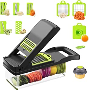 12 in 1 Vegetable Chopper, Multifunctional Mandoline Slicer Dicer Cutter, Kitchen Food Chopper, Salad Fruit Onion Chopper, Cheese Slicer with Large Container