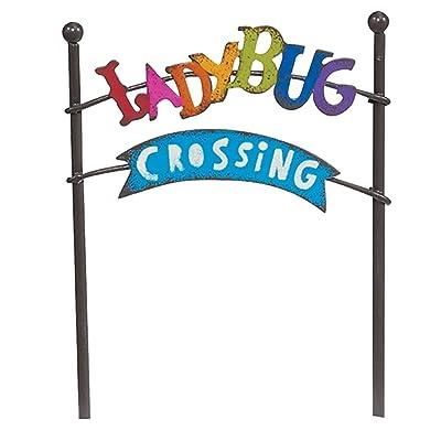 Ladybug Crossing Sign for Miniature Garden, Fairy Garden: Home & Kitchen