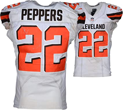 super popular 679bc 7c8a4 Jabrill Peppers Cleveland Browns Game-Used #22 White Jersey ...
