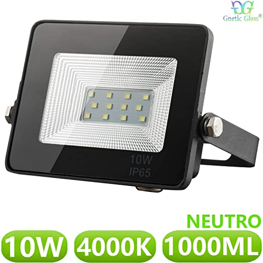 Foco LED exterior Floodlight 10W GNETIC GLASS Proyector Negro Impermeable IP65 1000LM Color Luz Blanco Neutro 4000K Angulo 120º 85x115 mm 30000h ...
