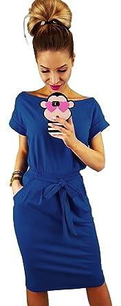 e8c281d1e3e94b Longwu Damen Elegantes Kurzärmeliges Kleid für Freizeit und Arbeit mit Gürtel  Blau-S