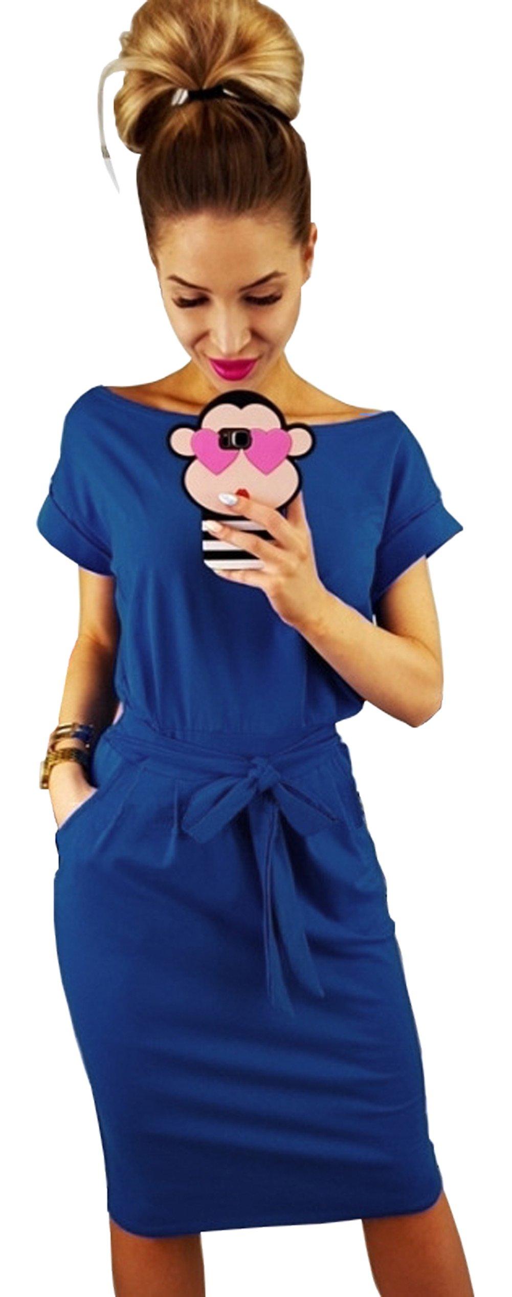 Longwu Women's Elegant Short Sleeve Wear to Work Casual Pencil Dress Belt Blue-XL