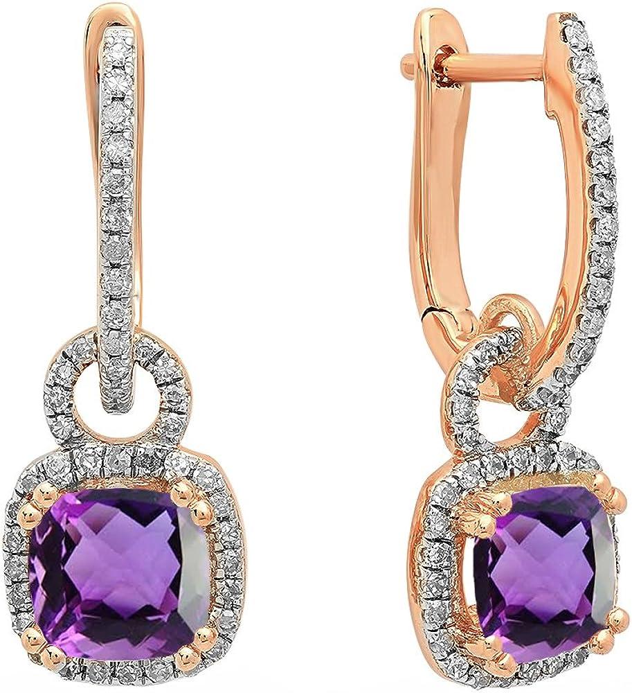 Pendientes colgantes de oro rosa de 14 quilates, 6 mm, cada cojín con piedras preciosas y diamante blanco redondo