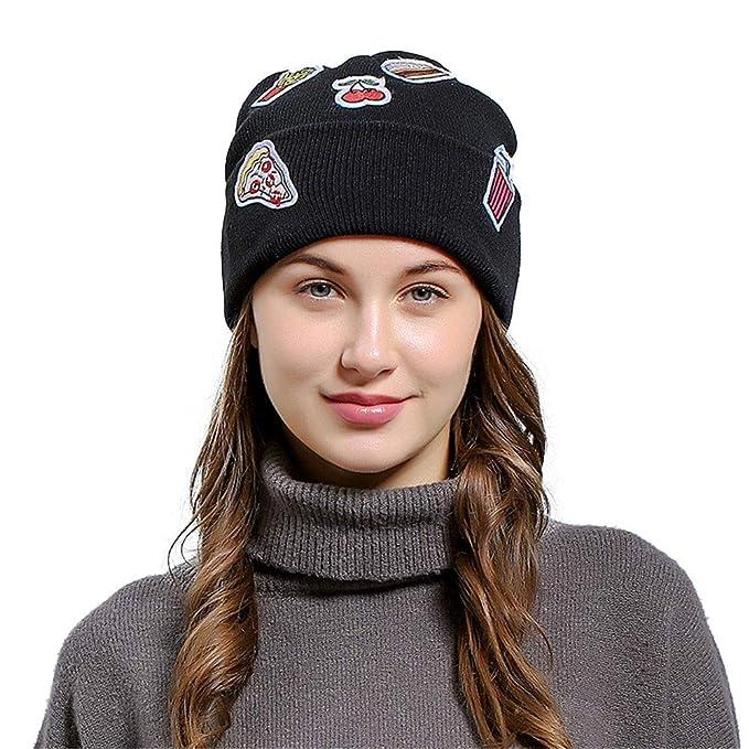 8a3ffc20a11 Cinhent Hat Men Women Novelty Ice Cream Patch Baggy Wool Knit Ski ...