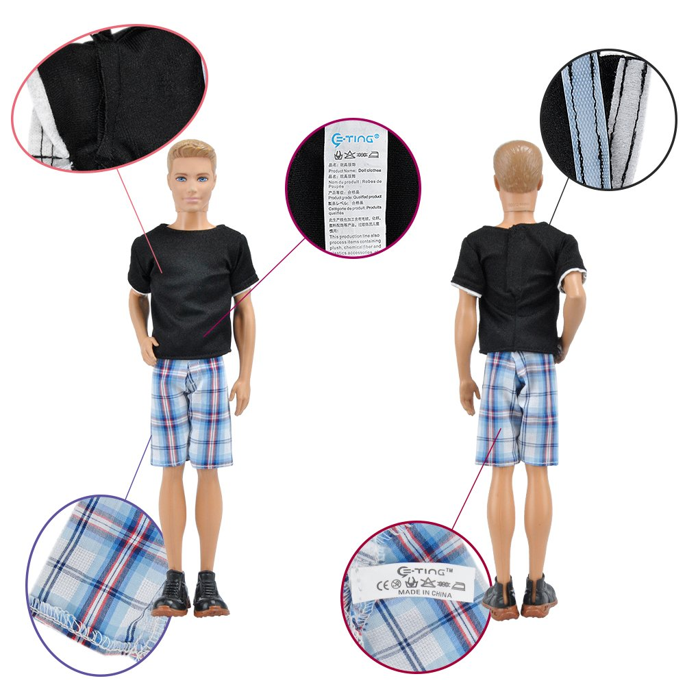 E-TING 3 Sets=6 Items Casual Wear T-Shirt Pants Pack Summer Look for Boy Doll (Lot#A)