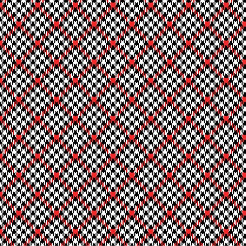 Dog Fabric Scottie (SCOTTIE DOG FABRIC - Houndstooth Hearts Check Red White Black - BEN197 - By Half Yard - By Benartex - 100% Cotton (Houndstooth Hearts Check Red White Black BEN197))