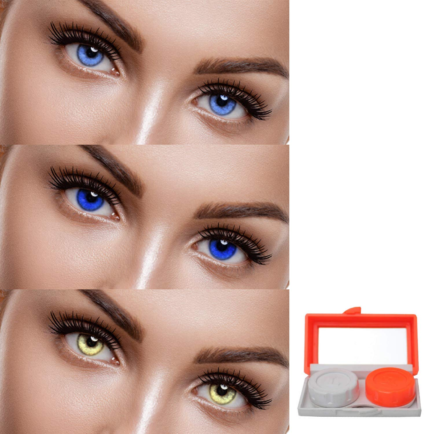 Buy Eycog 3 Pair Monthly Aqua Blue Gold Colored 0 Power Contact Lenses For Men And Women Eyes With Lens Travel Container Kit Online At Low Prices In India Amazon In