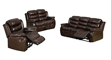 Furniture Of America Chellemont 3 Piece Leather Like Fabric Recliner Sofa Set Dark Brown Finish