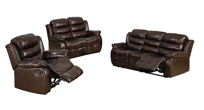 Amazon.com: Muebles de América chellemont 3-Piece Leather ...