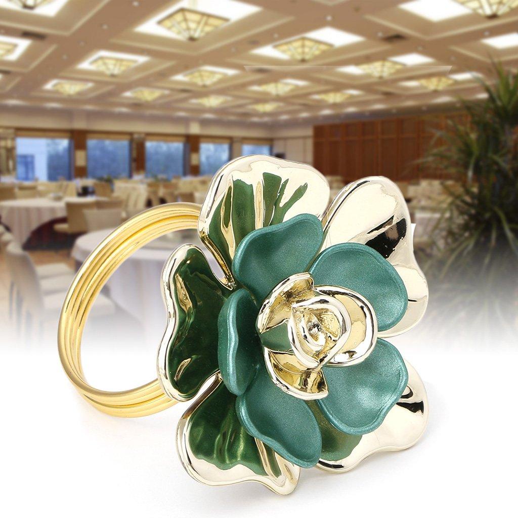 Jiamins portatovagliolo grazioso fiore oro verde cristallo tessuto supporto per party cena di nozze