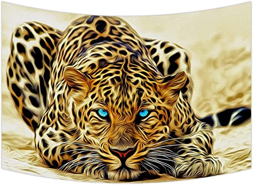 Custom Special Effect Leopard with Authentical Blue Eyes Wild Animal Print Tapestry Wall Hanging,Wall Art, Dorm Decor,Wall Tapestries Size 90×60 inches