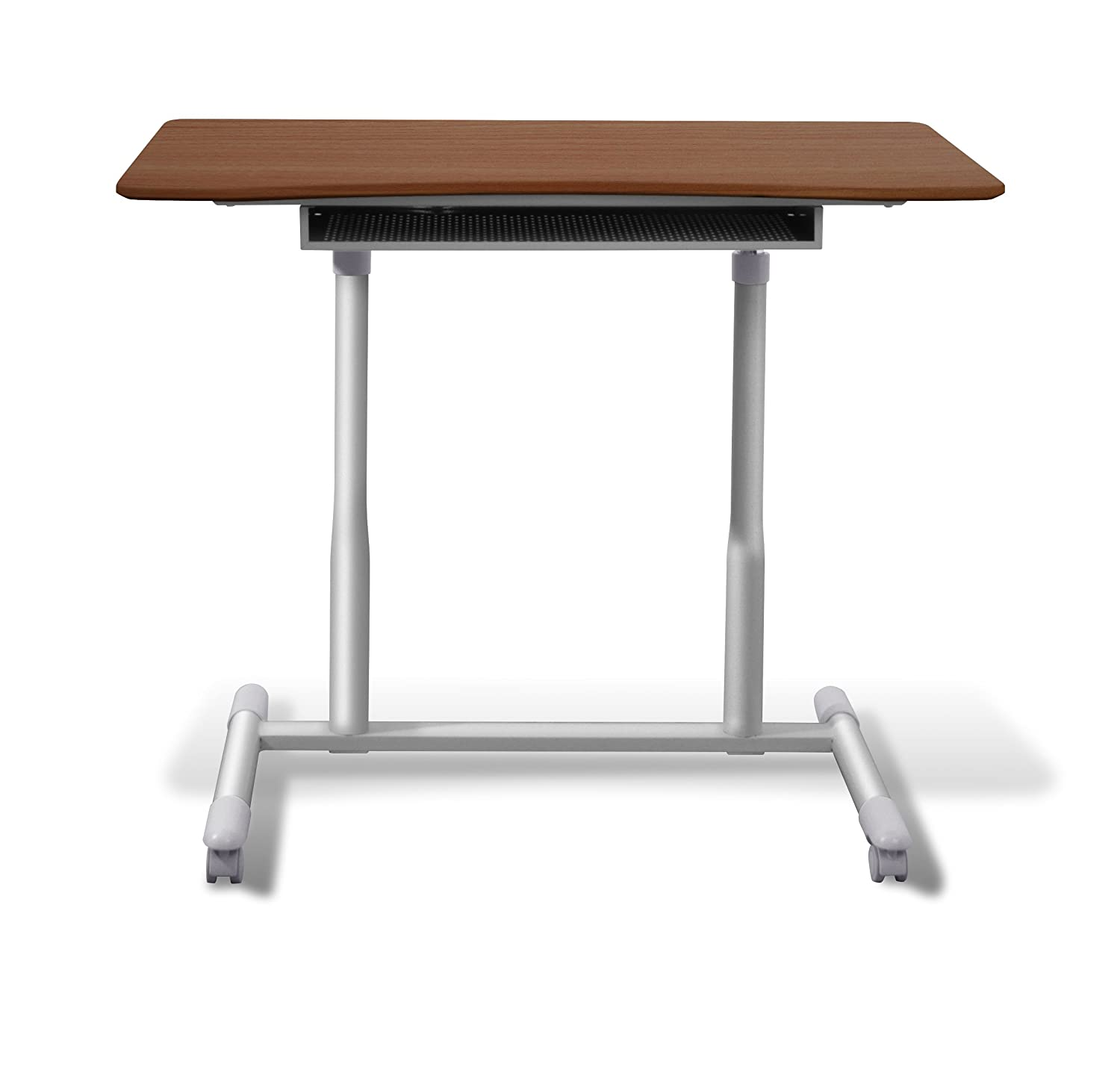 also computer workstation varnished ideas adjustable wheels ladder stand height wooden standing desk with rustic caster desktop mobile ergonomic