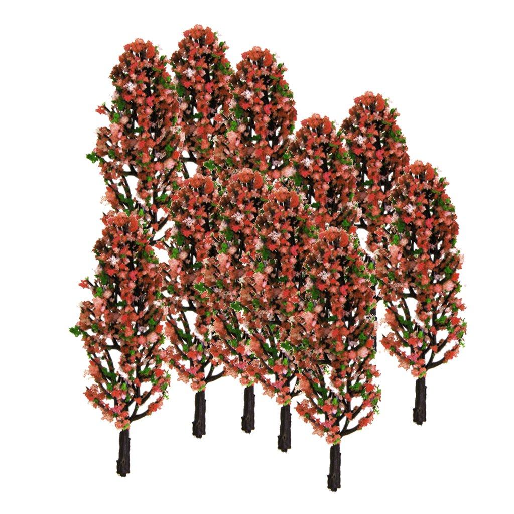 20pcs 3,3 Pulgadas Conjunto de Paisaje De Trenes Paisaje De árboles Verde Con Flores De Durazno Escala 1/200 Generic