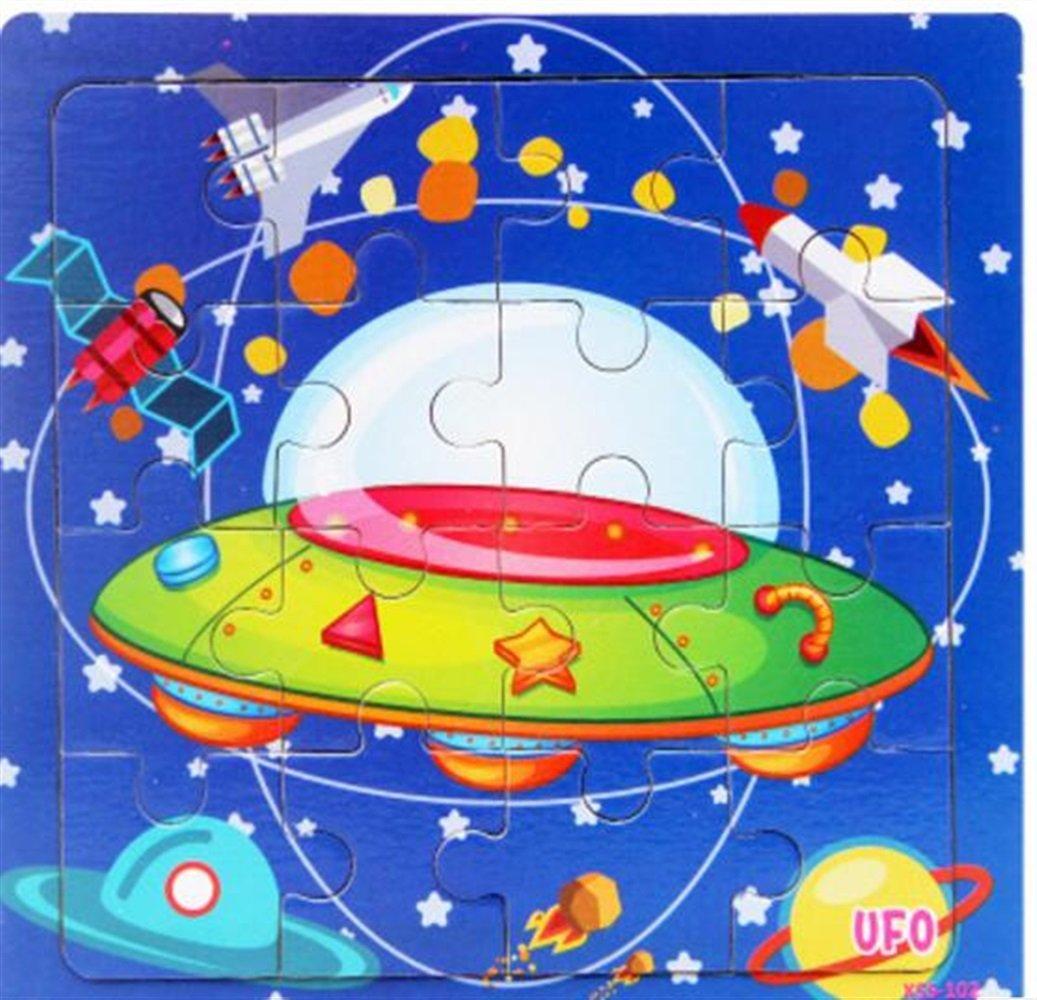Divertente gioco di puzzle giocattolo Giocattolo per auto in legno di alta qualità Giocattolo per apprendimento precoce Regali fantastici per bambini (UFO) GaGadot