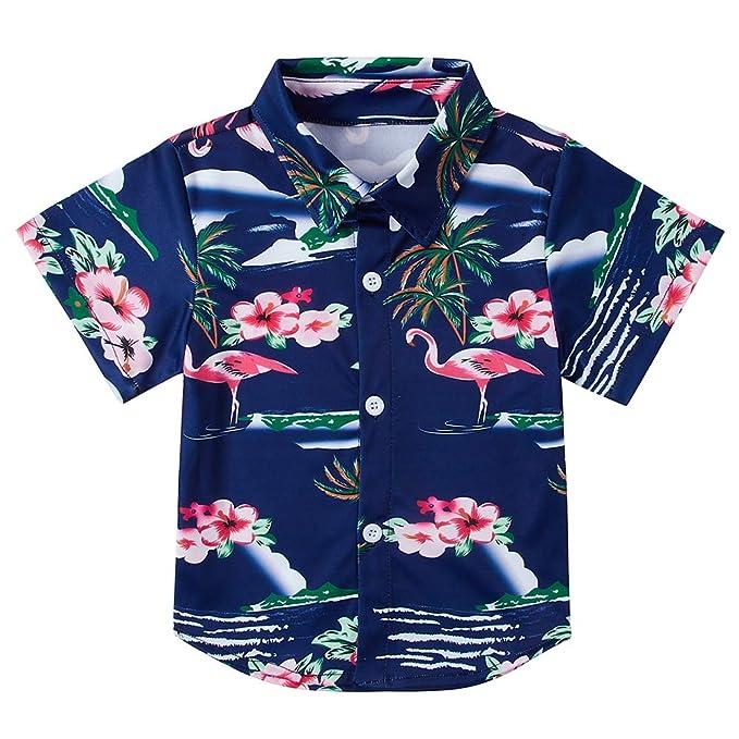 89beff572 Toddler Kids Boy's Flamingos Button Down Aloha Hawaiian Shirt Short Sleeve  Tropical Style Dress Shirts Tops