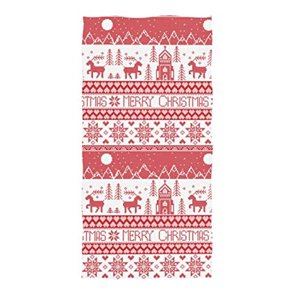Toalla de baño Tommying Sophy de punto rojo con adornos navideños, toalla de baño de secado ...